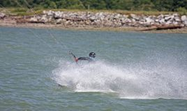 Kitesurfer riding toeside Stock Photo