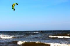 Kitesurfer ripping along Royalty Free Stock Image