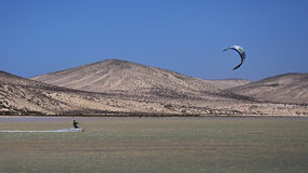 Kitesurfer on Risco del Paso beach, Fuerteventura, Canary islands Stock Image