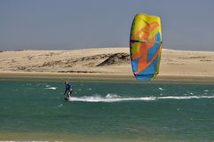 Kitesurfer on a river. In Brazil Royalty Free Stock Photography