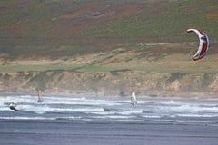 Kitesurfer at Saunton Sands Stock Photos