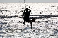 Kitesurfer  silhouette Stock Photography