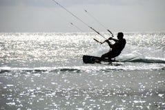 Kitesurfer silhouette stock photography