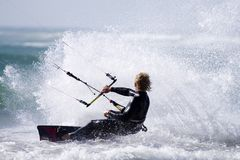 Kitesurfer spray Stock Photo
