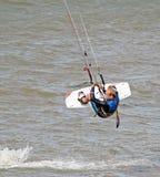 Kitesurfer stunts Stock Photos