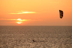 Kitesurfer at sunset Royalty Free Stock Photos