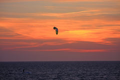 Kitesurfer at sunset Royalty Free Stock Photo