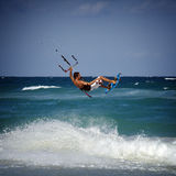 Kitesurfer in waves Stock Photo