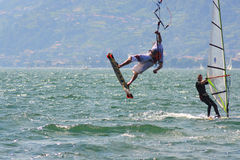 Kitesurfer and windsurf royalty free stock image