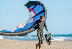 Kitesurfer With Kitesurf Power Kite On The Beach In Ulcinj, Mon Royalty Free Stock Images