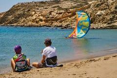 Kitesurfers на prasonisi Стоковые Изображения RF