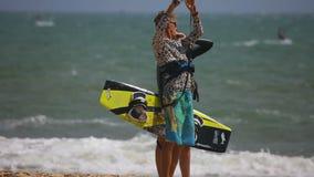 Kitesurfers stock video footage