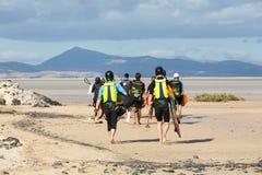 Kitesurfers on Beach Playa de Sotavento, Canary Island Fuerteventura Stock Photo