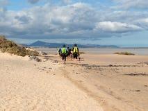 Kitesurfers on Beach Playa de Sotavento, Canary Island Fuerteventura, Royalty Free Stock Images