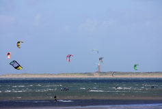 Kitesurfers at Brouwersdam Royalty Free Stock Images