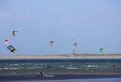 Kitesurfers at Brouwersdam Royalty Free Stock Images