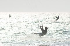 Kitesurfers in water Royalty Free Stock Photography