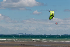 Kitesurfers in Hauraki Gulf Royalty Free Stock Images