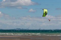 Kitesurfers in Hauraki Gulf Royalty Free Stock Images