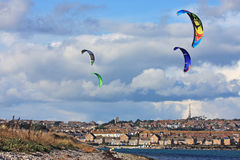 Kitesurfers in Portland harbour Stock Images