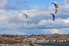 Kitesurfers in Portland harbour Stock Images