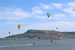 Kitesurfers in Portland Harbour Stock Photo