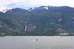 Kitesurfers at Squamish, Canada Stock Photography
