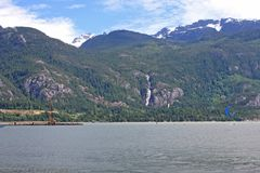Kitesurfers at Squamish, Canada. Kitesurfers riding in the Howe Sound, Squamish Stock Photography