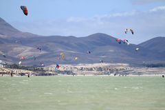 Kitesurfers in Sotavento Beach. COSTA CALMA, SPAIN - MAY 13, 2017: Kitesurfers in Sotavento Beach in Fuerteventura. Canary Islands, Spain Royalty Free Stock Image