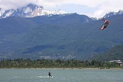Kitesurfers at Squamish, Canada. Kitesurfers on the Howe Sound at Squamish Royalty Free Stock Image