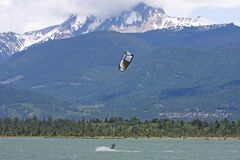 Kitesurfers at Squamish, Canada Royalty Free Stock Images