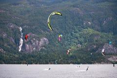 Kitesurfers at Squamish, Canada Stock Image