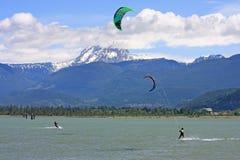 Kitesurfers at Squamish, Canada Royalty Free Stock Image