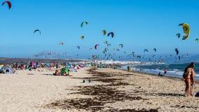 Kitesurfers in Tarifa royalty free stock photo