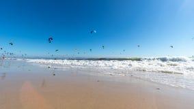 Kitesurfers in Tarifa stock photo
