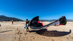 Kitesurfers in Tarifa stock photos