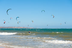 Kitesurfers in Vietnam Royalty Free Stock Photography