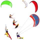 Kitesurfers on white Stock Photo