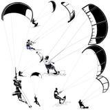Kitesurfers on white Royalty Free Stock Image