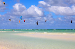 Kitesurfing. Cayo Guillermo in Atlantic Ocean Stock Image