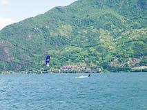 Kitesurfing action at the lake Royalty Free Stock Images