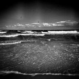 Kitesurfing.  Artistic look in black and white. Stock Image