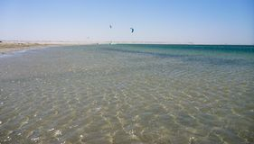 Kitesurfing in Atlantic ocean Royalty Free Stock Photo