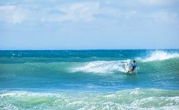 Kitesurfing background. Freestyle boarding on ocean waves Royalty Free Stock Photo