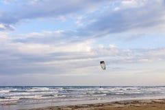 Kitesurfing on the beach, Limassol, Cyprus Royalty Free Stock Image