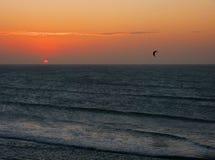 Kitesurfing bij zonsondergang stock afbeeldingen