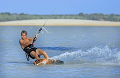 Kitesurfing in brazil Royalty Free Stock Image