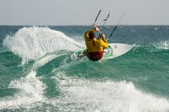 Kitesurfing Cabo Verde fotografía de archivo
