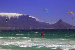 Kitesurfing Cape Town (III) Royalty Free Stock Images