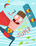 Kitesurfing caricature superman cartoon card Stock Images